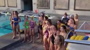women swim sing fight song